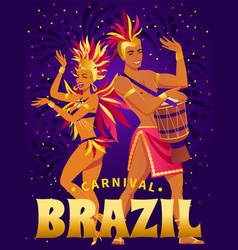 Brazil carnival poster with beautiful brazilian vector