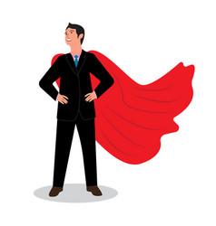 Businessman in a red raincoat hero vector