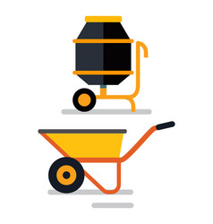 Cement mixer and carriage loader cart construction vector