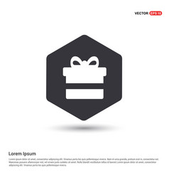christmas gift box icon hexa white background vector image