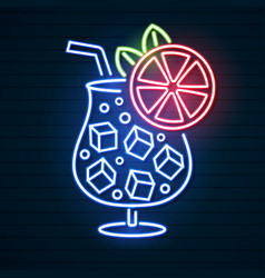 cocktail neon sign bright signboard light banner vector image