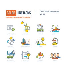 Color icons corporate development teamwork vector