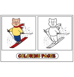 coloring piggy - skier vector image