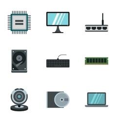 Computer setup icons set flat style vector image