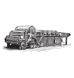 Cotton machine vintage vector