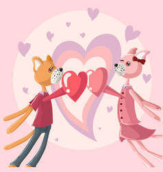 couple dog falling in love greeting card vector image