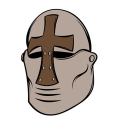 crusader knight helmet icon cartoon vector image