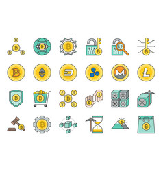 cryptocurrency related icon set vector image