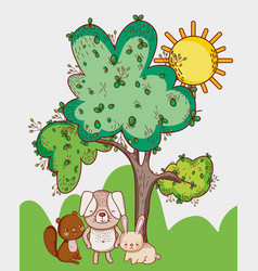 cute animals squirrel rabbit and grass tree sun vector image