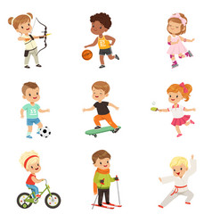 Cute little children playing different sports vector