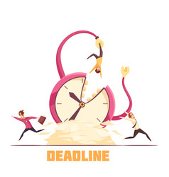 Deadline disaster cartoon composition poster vector