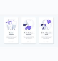 Dental prosthetics app interface template vector