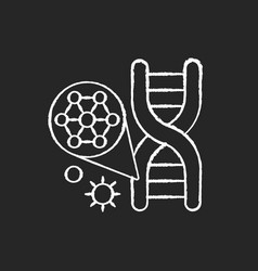 Dna structure chalk white icon on black background vector