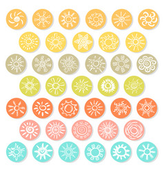 doodle white suns icons set vector image