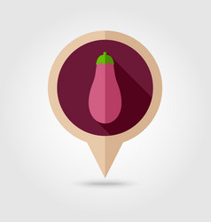 Eggplant flat pin map icon vegetable vector
