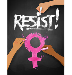 female hands drawing resist word lettering vector image