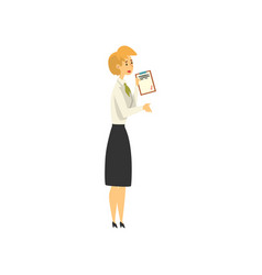 female manager character working at bank public vector image
