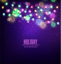 festive background luminous garlands lights vector image