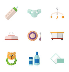 flat icon baby set of baby plate tissue feeder vector image