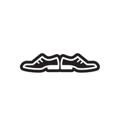 Flat icon in black and white style male shoes vector