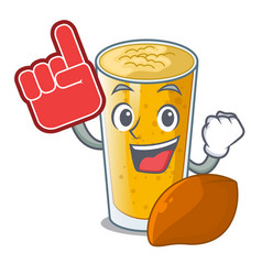 Foam finger lassi mango in the character fridge vector