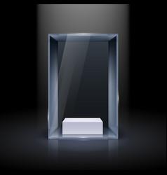 Glass showcase for presentation on black vector