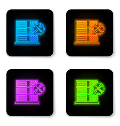 glowing neon database server with screwdriver and vector image