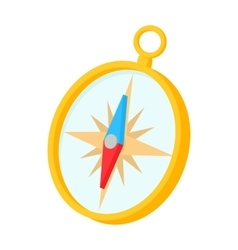 Gold compass icon in cartoon style vector