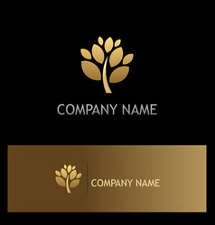 Gold tree plant botany logo vector