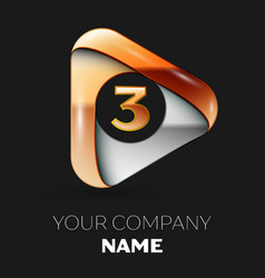 Golden number three logo in golden-silver triangle vector