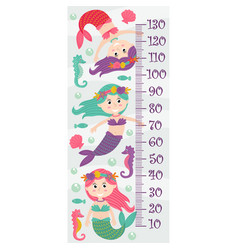 growth measure with mermaids vector image