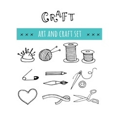 Handmade crafts workshop icons Hand drawn vector image