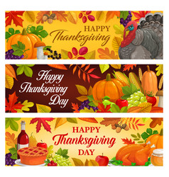 happy thanksgiving day cartoon banners vector image