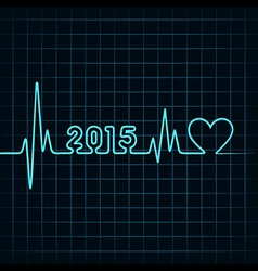 heartbeat make 2015 and heart symb vector image