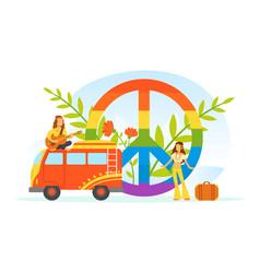 hippie characters old retro classic traveling van vector image