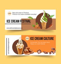 Ice cream banner design with green tea milk vector