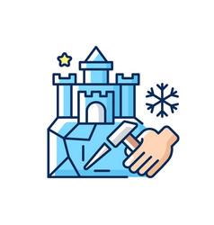Ice sculpture rgb color icon vector