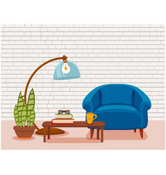 Interior with an armchair potted plant vector