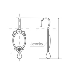 Jewelry production sketch earrings isolated vector