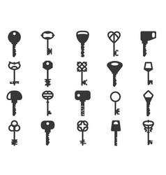 key silhouettes black vintage and modern shapes vector image