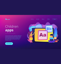 Kids digital content concept landing page vector
