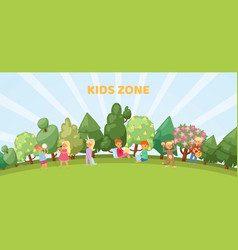 Kids zone banner playroom or park playground vector