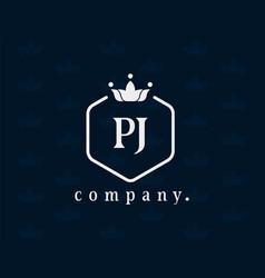 Letter pj luxury royal monogram logo design vector