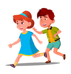 little boy and girl playing catch-up vector image
