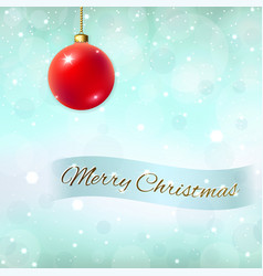Merry christmas blue background 3d red bauble vector