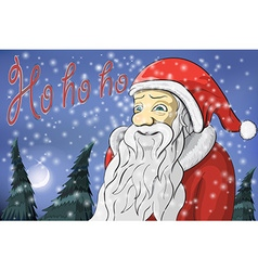 Merry Christmas moon snow Santa Claus Text ho ho vector