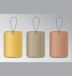 metal tags with string vector image