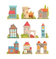 Old And Medieval Historical Buildings Set Of vector