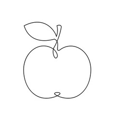 One line apple design hand drawn minimalism style vector