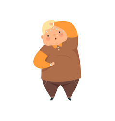 Overweight sweaty boy cute chubby child cartoon vector